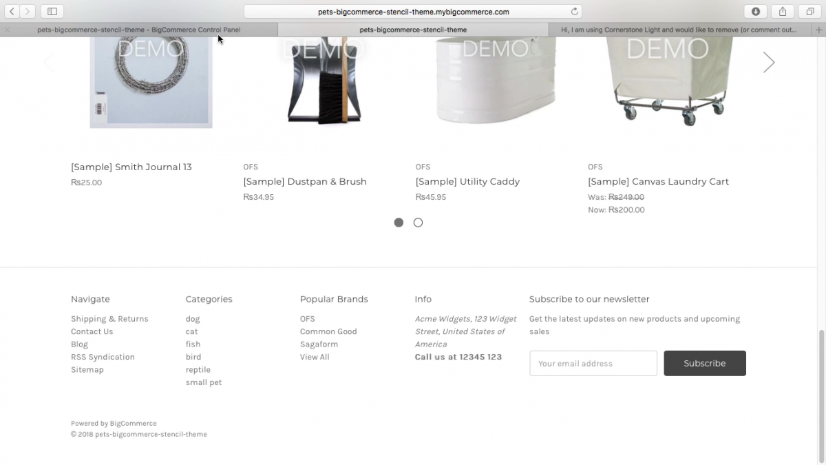How to edit bigcommerce Cornerstone Light footer.