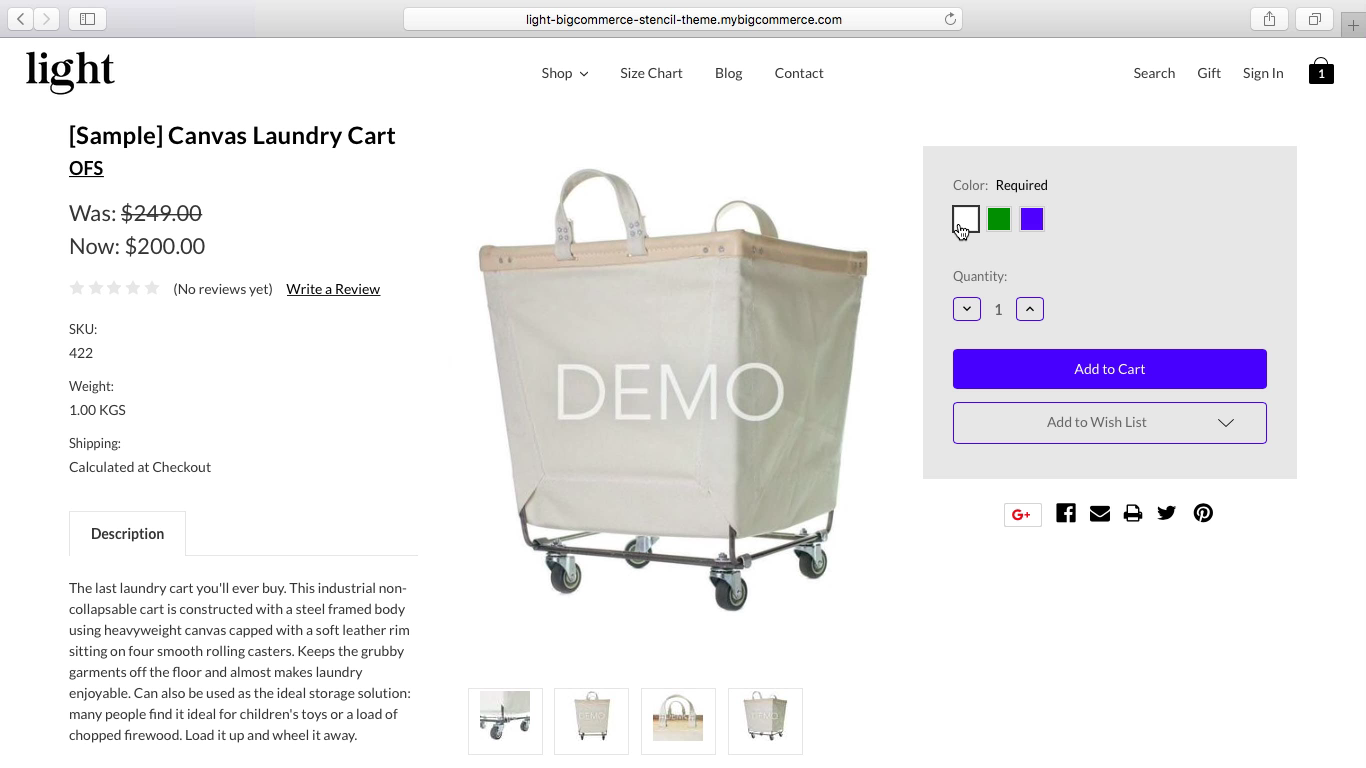 Color Swatch Variation Images app for BigCommerce stencil themes